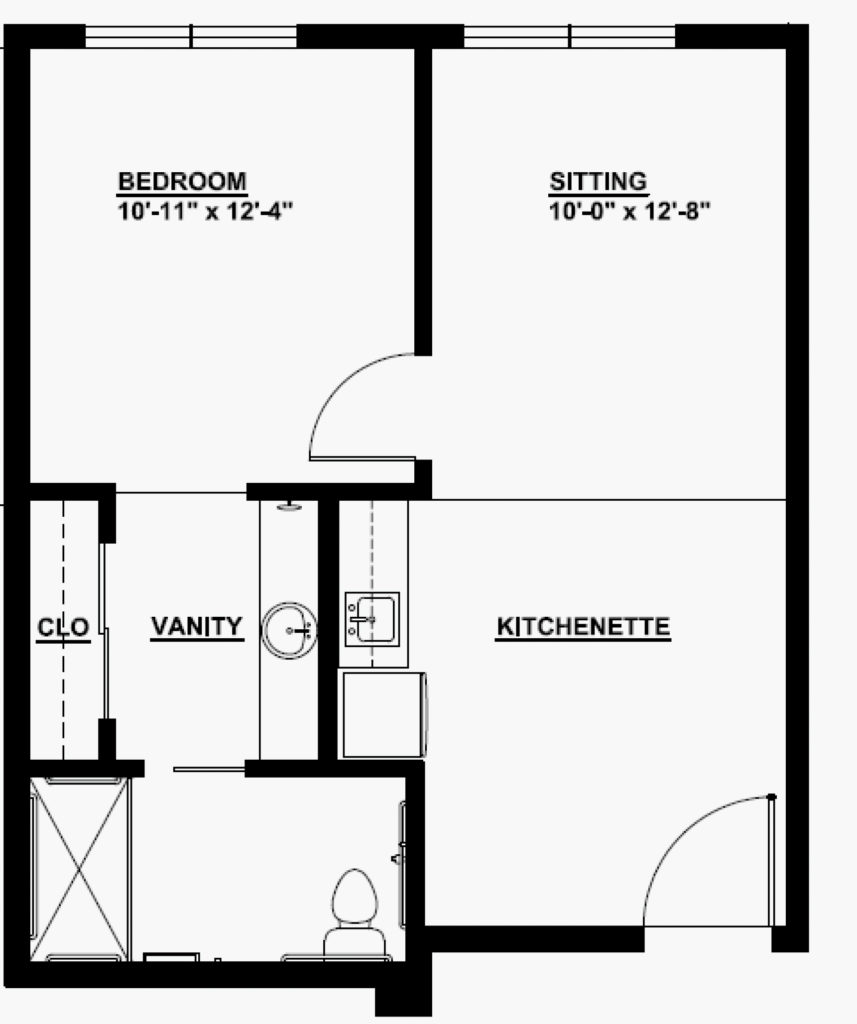 Senior Living 1 Bedroom Floorplan