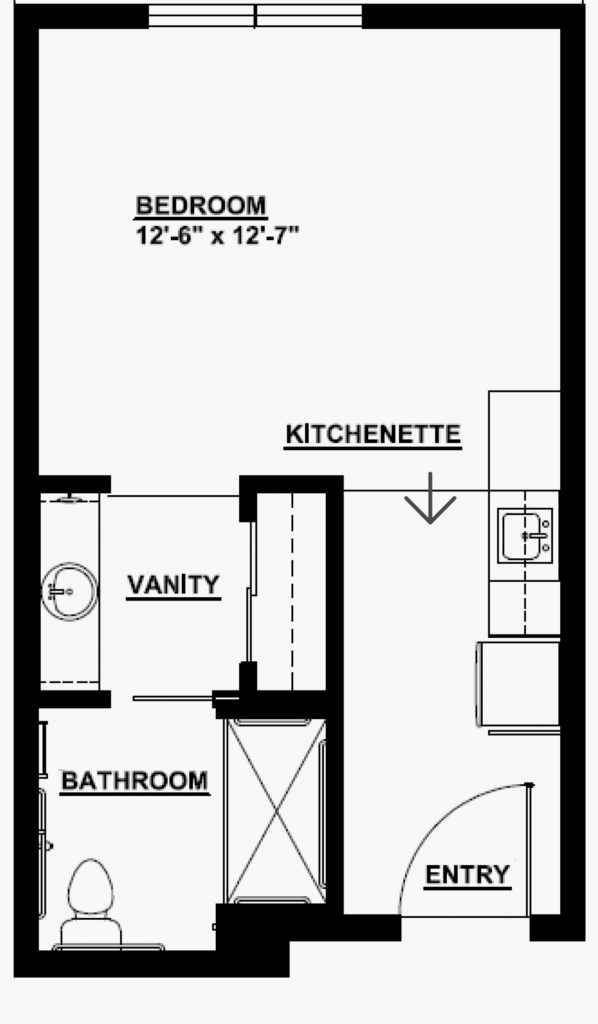 Senior Living Studio Floorplan