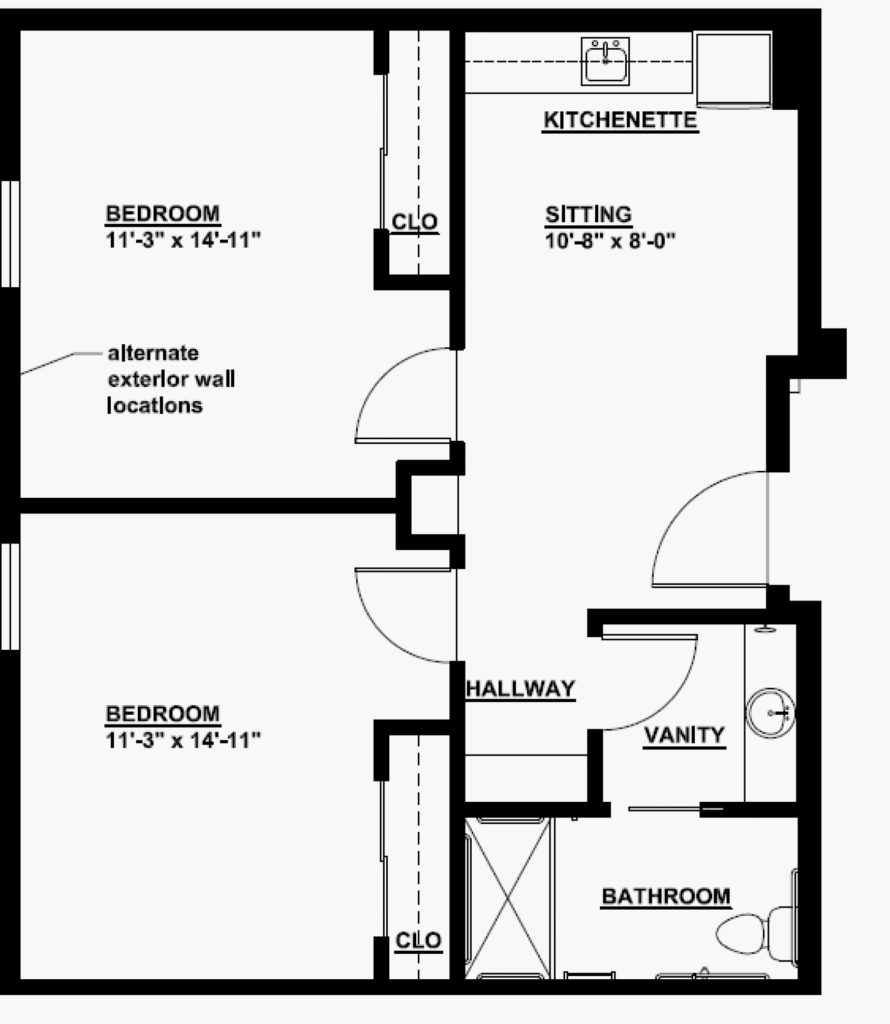 Senior Living 2 Bedroom Floorplan