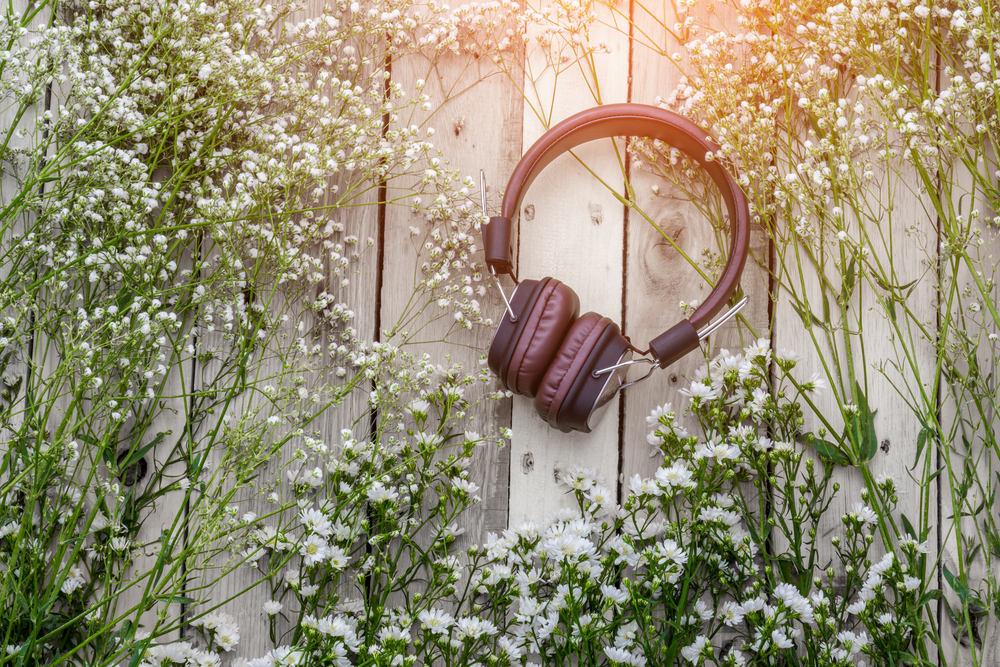 music therapy senior living near me headphones on wooden pallet with flowers