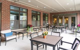 Oakleigh Macomb Senior Living outdoor patio seating area