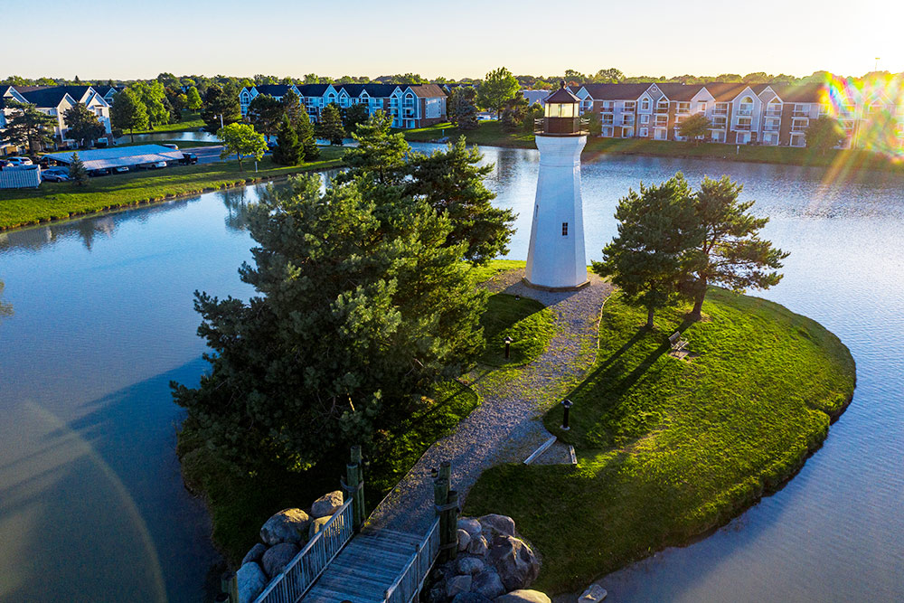 Aerial photo of lighthouse on island in Macomb Michigan