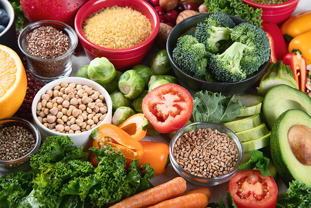 Assortment of fruits, vegetable sand grains, healthy foods