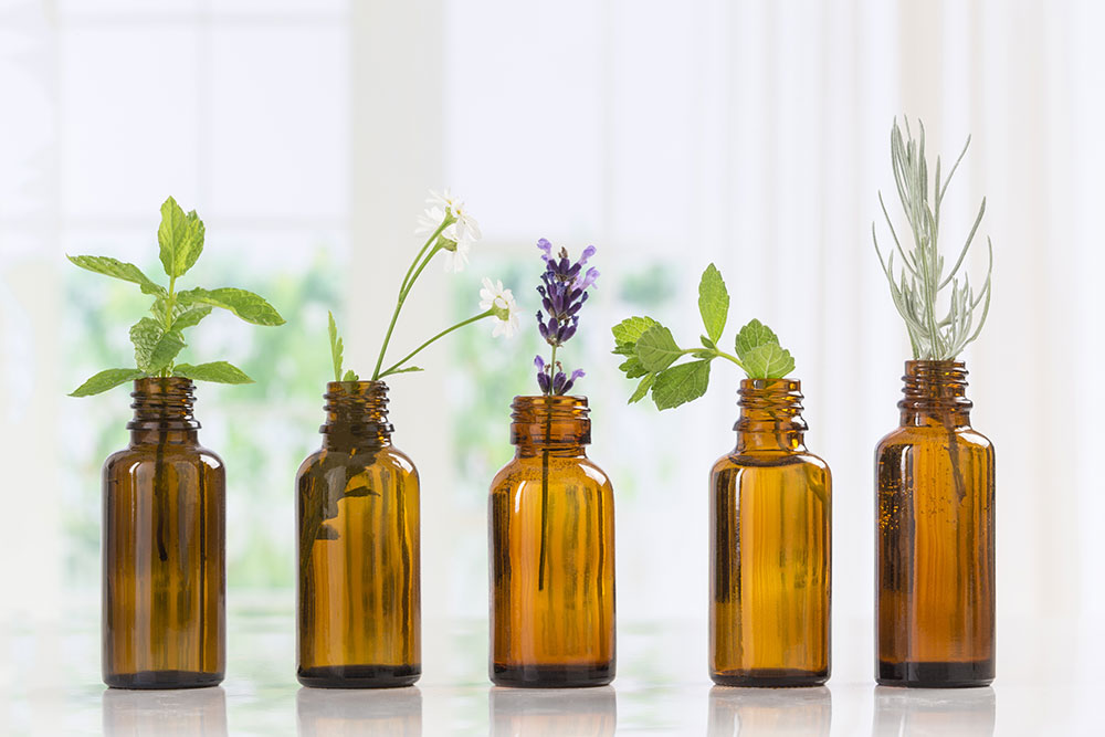 Tinctures of essential oils with herbs sticking out of them
