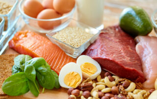Protein packed foods, meats, eggs and nuts